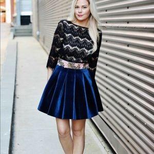Lauren Conrad Blue Velvet Runway Skirt 12